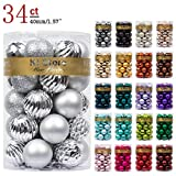 KI Store 34ct Silver Christmas Ball Ornaments 1.57' Small Shatterproof Christmas Decorations Tree Balls for Holiday Wedding Party Decoration Tree Ornaments Hooks Included 40mm