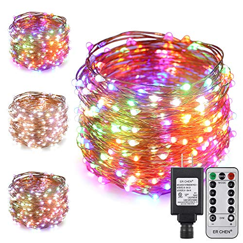 ErChen Dual-Color LED String Lights, 100 FT 300 LEDs Plug in Copper Wire 8 Modes Dimmable Fairy Lights with Remote Timer for Indoor Outdoor Christmas (White/Multicolor)