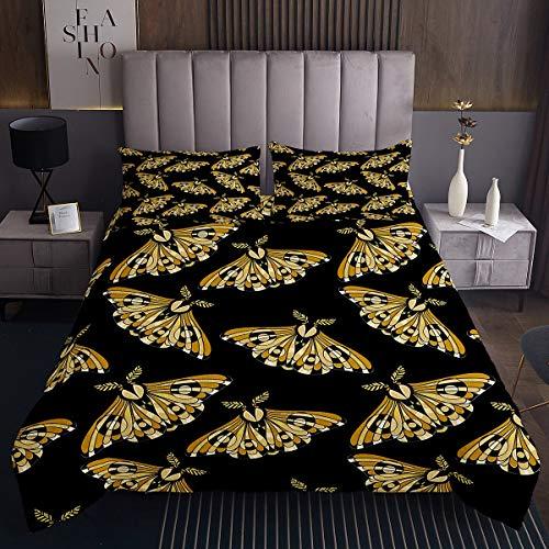 Tbrand Conjunto de colcha de estilo bohemio para niñas con diseño retro pesonalizado y acolchado para niños, de color dorado y negro
