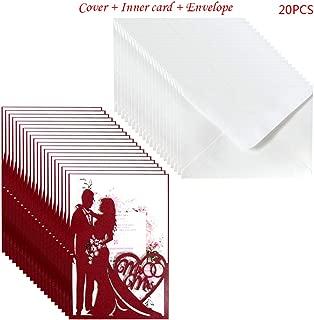 20pcs/Set Cut Mr & Mrs Wedding Invitations Card Invite Envelopes Kit Bridal Shower Engagement Party Supplies