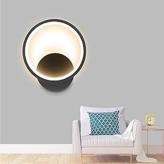 Applique Murale Interieur LED Noir 12W Ketom Ronde Applique LED Murale Blanc Chaud 3000K Decoration Luminaire Mural LED 90...