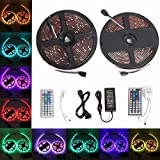 Ruban LED, GLISTENY 2 Bande Lumineux Etanche 5M 5050 RGB 150LEDs Multicolore Strip Light +12V 6A Adapteur + 2Pcs 44Touches Infrarouge Telecommande Pour fete Noel Home DIY Decoration