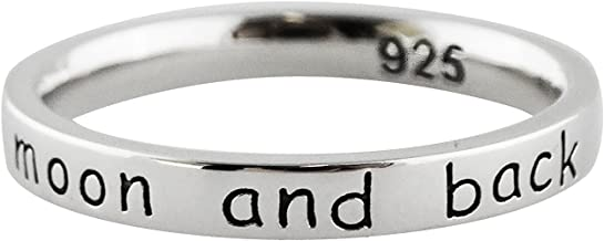 FashionJunkie4Life Sterling Silver I Love You to The Moon and Back Engraved Ring Band, Sizes 6, 7, 8, 9