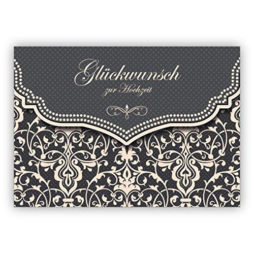 Feine Hochzeitskarte mit Vintage Damast Muster in edlem Grau: Glückwunsch zur Hochzeit • edle Glückwunschkarte für den schönsten Tag des Lebens