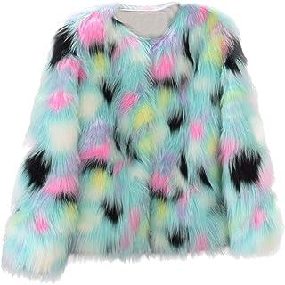 Sunhusing Womens Winter Faux Fur Coat Jacket Winter Colorful Gradient Color Parka Outerwear
