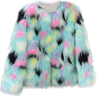 Sunhusing Womens Winter Faux Fur Coat Jacket Winter Colorful Gradient Color Parka Outerwear