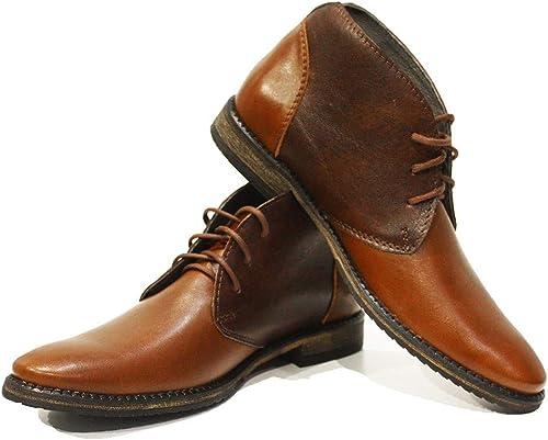 Modello Sergio - Cuero Italiano Hecho A Mano Hombre Piel Color marrón Chukka botas Botines - Cuero Cuero Suave - Encaje