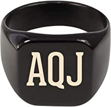 Molandra Products AQJ - Adult Initials Stainless Steel Ring