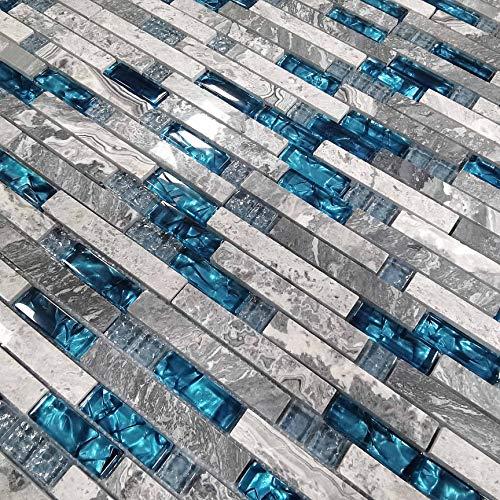 Mosaikfliesen für Küche, Glas, Blau, Naturstein, Marmor-Fliesen, grau, Badezimmer, Wandfliesen, Kamin, U-Bahn, Heimwerkermaterialien [Packung mit 11 Stück (je 31 x 30 x 0,8 cm)