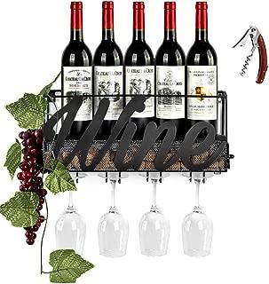 Wine Rack Wall Mounted Black Metal Wine Glass Rack Wine Cork Holder Come with Wine Opener