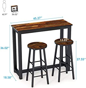 Tribesigns 3-Piece Pub Table Set, Counter Height Kitchen Bar Dining Table with Stools Set for Breakfast Nook, Dining Room, Living Room, Small Space (Brown)