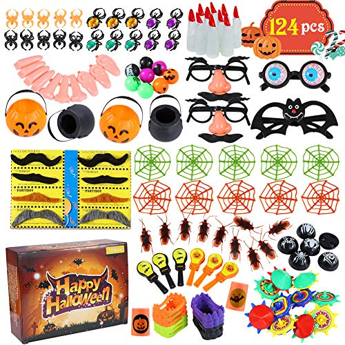 Acekid 124pcs Halloween Party Toys, Assortment Novelty Toys for Halloween Trick or Treat, School Classroom Rewards,Halloween Miniatures, Halloween Prizes