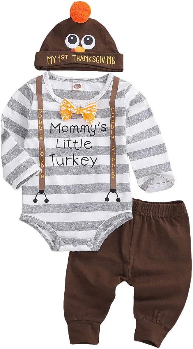 My First Thanksgiving Outfit Newborn Baby Boy Gentleman Stripes Letter Bow Romper Top+Pants Leggings+Turkey Hat 3PCS Set