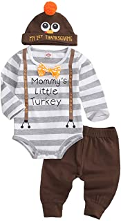 My First Thanksgiving Outfit Newborn Baby Boy Gentleman Stripes Letter Bow Romper Top+Pants Leggings+Turkey Hat 3PCS Set