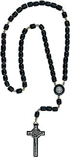 Catholica Shop Catholic Religious Wear Saint Benedict Crucifix Cross Necklace with Wood Beads Rosary - 20 Inch