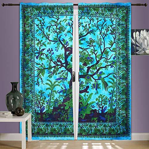 Tree of Life Vorhang / Wandbehang, 2 Paneele, 208,3 x 208,3 cm, Mandala-Vorhänge, Paar, Länge 82, 2er-Set, Vogelbehang, indische Hippie-Vorhänge, Bohème-Stil, psychedelisch, Mandala-Wandbehang