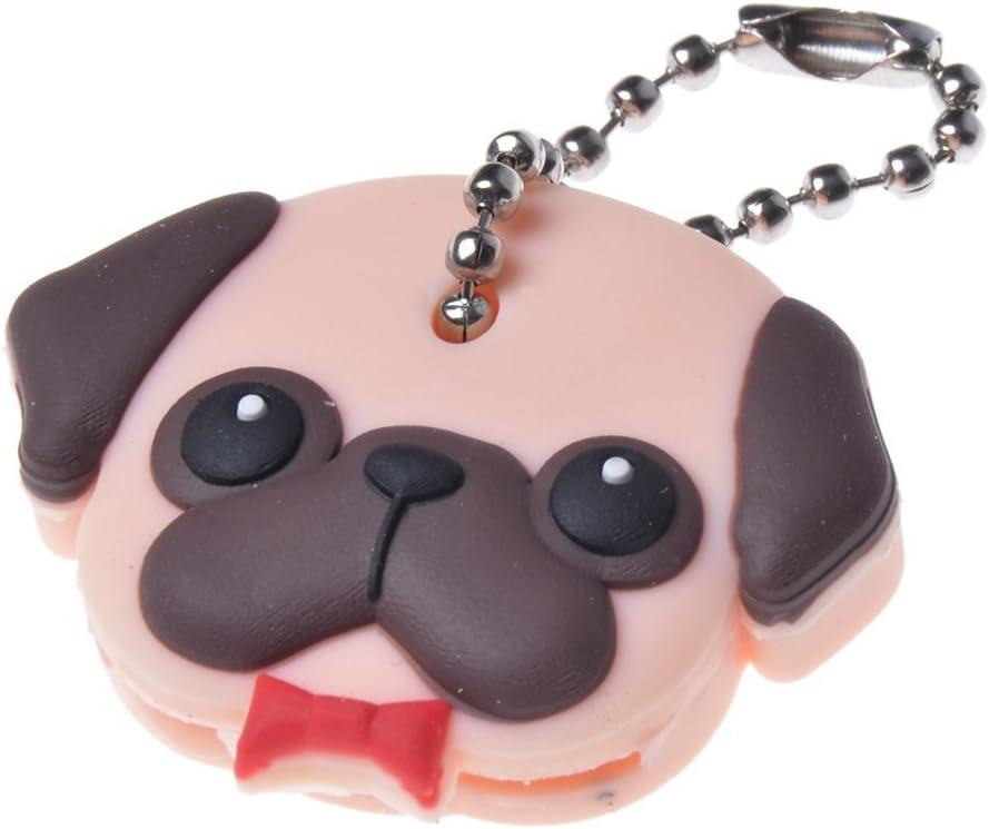 Silicone Puppy Pug Cat Rabbit Key Cover Cap Keychain Key Ring PVC Key CaseNF