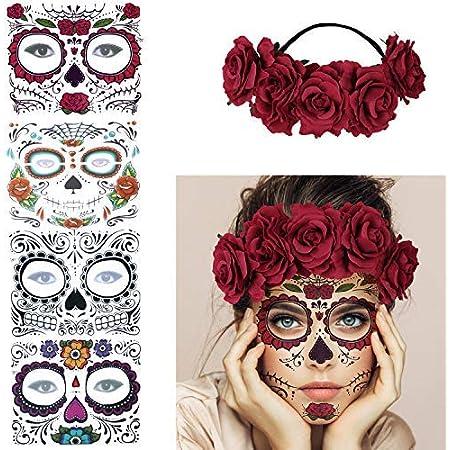Milacolato Halloween Tatouages Temporaires Glitter Roses Rouges Jour de La Mort en Sucre Cr/âne Visage Autocollant De Tatouage