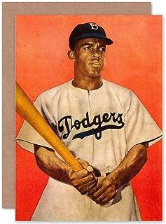 Wee Blue Coo Vintage Photo Jackie Robinson Baseball Brooklyn Dodgers Greetings Card