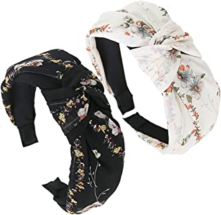 2Pack Boho Floral Knot Headband for Women Girls, Wide Cross Cloth Wrap Turban Hair Band Adult Stylish Twist Retro Satin Hair Hoop Trendy Bow Elastic Hair Accessories for Face Wash, Gym, Yoga, Makeup
