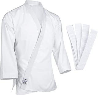 FitsT4 Karate Gi Jacket Lightweight 7.5oz White Karate Martial Arts Top Only for Adult & Children Size 000-5