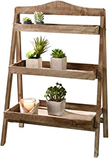 Foldable Wooden Plant Stands for Indoor Outdoor or Greenhouse, Three Shelves