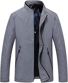 Men's Clothing Men's Jacket, Spring and Autumn Business Casual Jacket Men, Solid Color Long Sleeve Bomber Jacket Clothing Autumn and Winter (Color : Gray, Size : L)