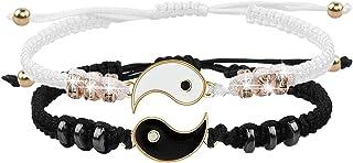 Bracelets Meilleur ami pour 2 Bracelet à cordon ajustable Yin Yang pour BFF Relation d'amitié Petit ami Petite amie Cadeau...