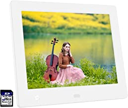Ausemku Digital Photo Frame 8 inch 1024 x 768 IPS Screen Digital Picture Frame+16GB SD Card-Full HD Digital Photo & Video Frame with Motion Sensor, Slideshow, Calendar Function & USB/SD Card Slots