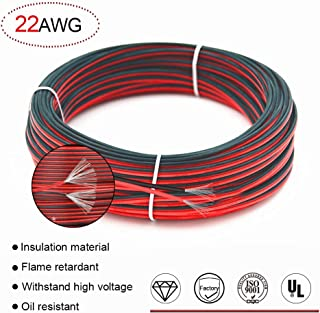 22 AWG Red/Black Hookup Wire,66ft Stranded wire Flexible PVC Electrical wire 2 conductor wire,Tinned copper Cords is resistant to high temperatures