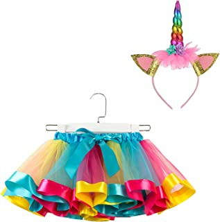 SunTrade Girls Kids Layered Rainbow Colorful Tutu Skirt with Unicorn Horn Headband Outfits for Birthday Party Dress Up Gifts