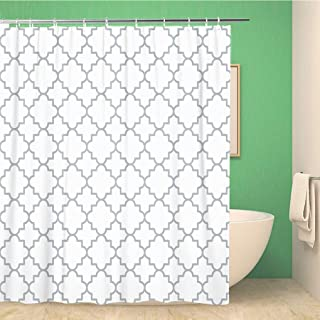 rouihot Bathroom Shower Curtain Gray Grey Traditional Quatrefoil Lattice Pattern White Abstract Arabesque Polyester Fabric 72x78 inches Waterproof Bath Curtain Set with Hooks