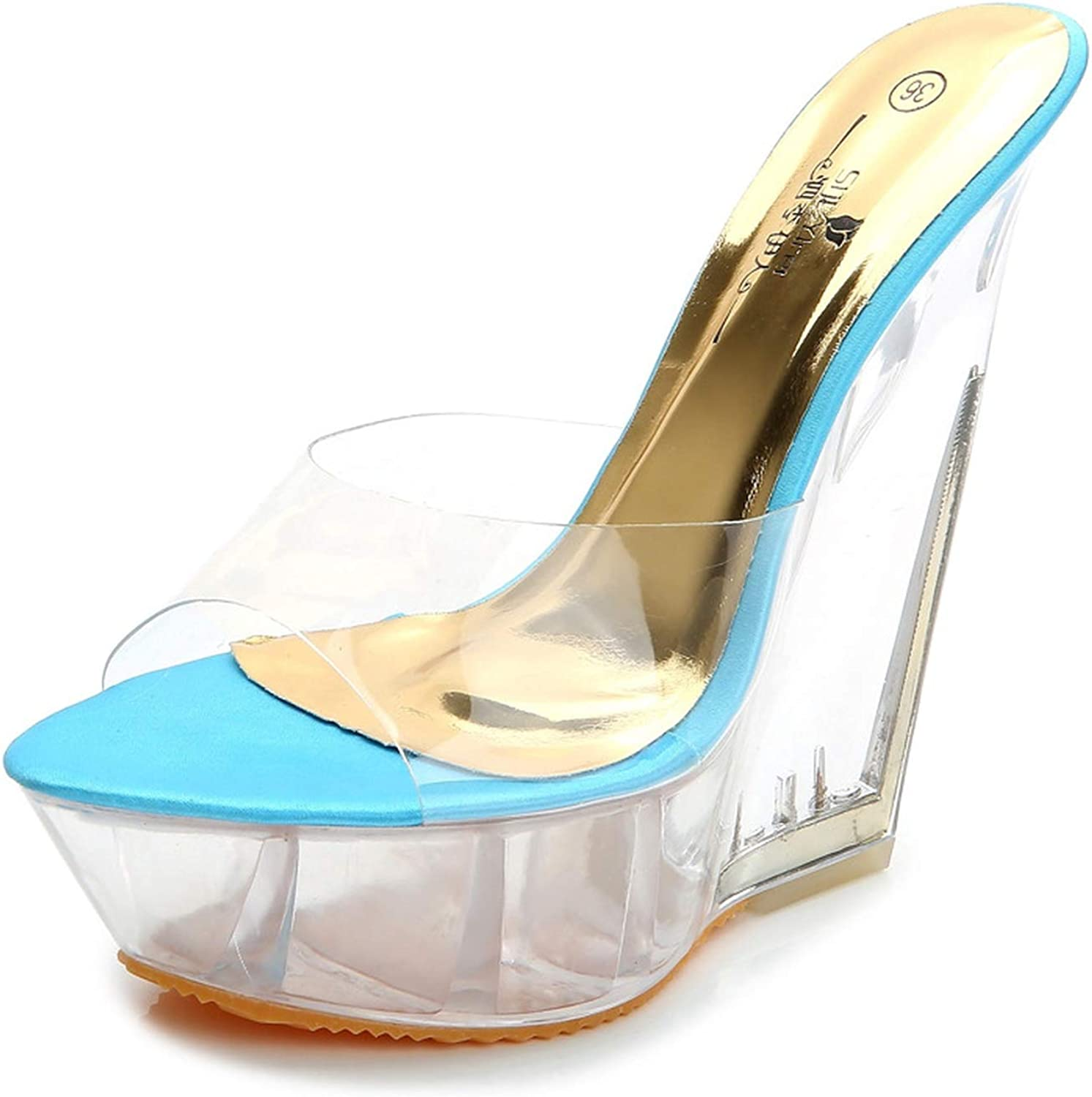 Summer Thick-Soled High-Heeled Sandals Slippers Transparent Crystal shoes Waterproof Platform 15Cm Wedge shoes Lfd-126