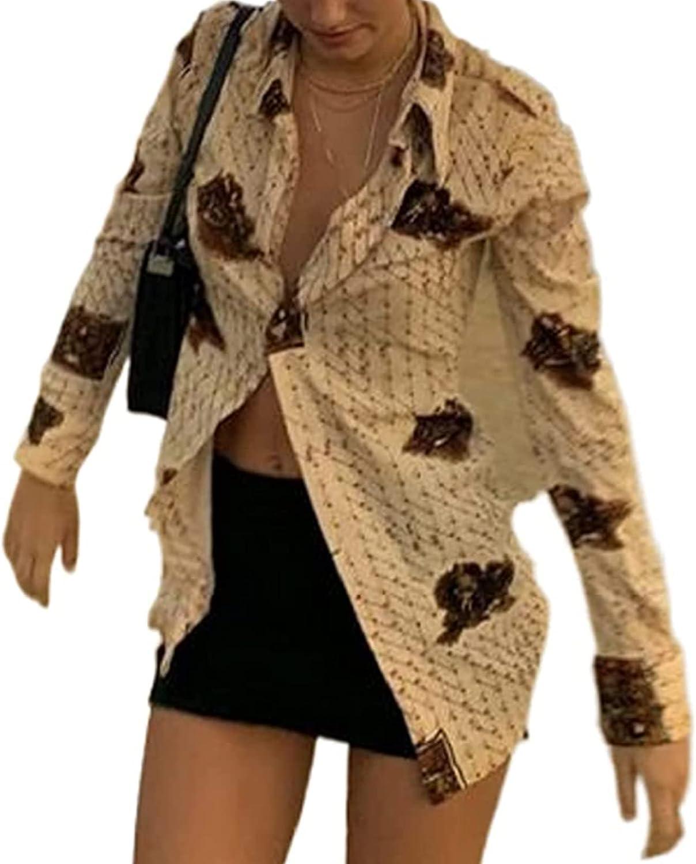 Women Print Long Sleeve Button Down Shirt E Girl Vintage Y2K Blouse Tops Bear Casual Basic 90s V Neck Streetwear