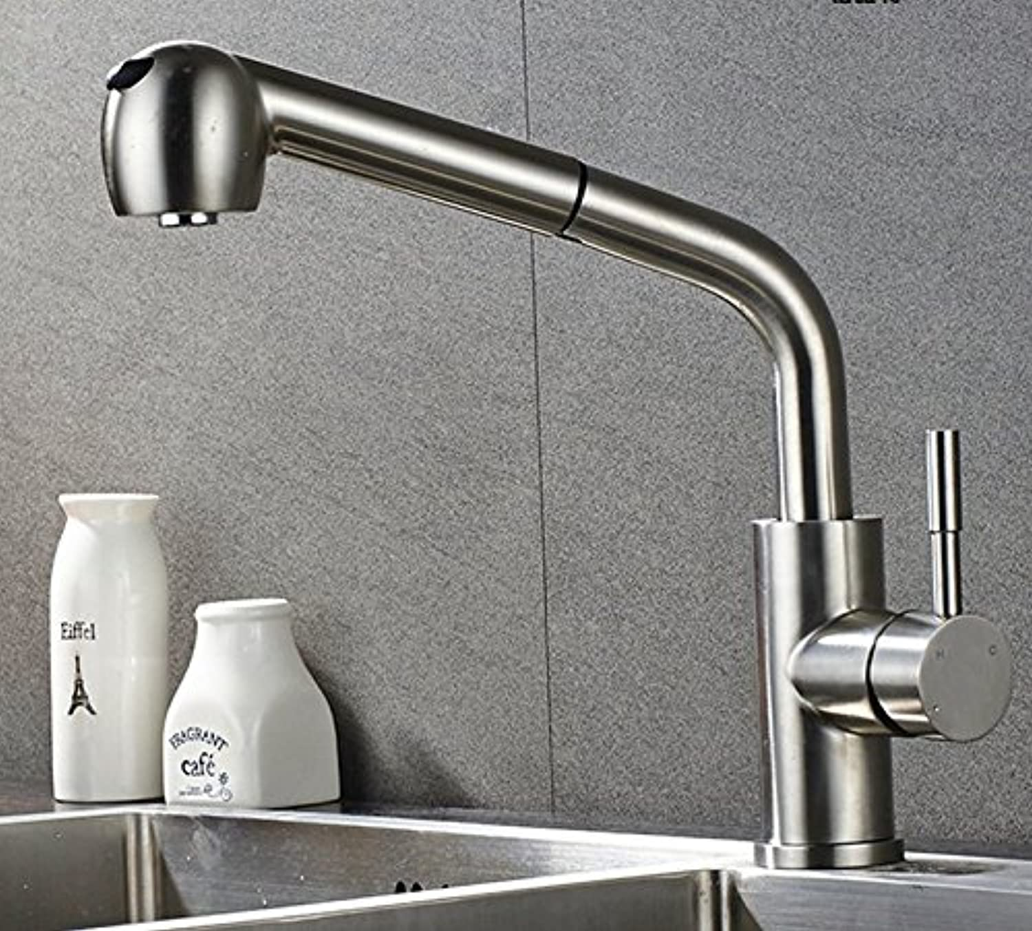 Mangeoo Faucet Stainless Steel Kitchen Faucet, Hot And Cold Pull Basin, Universal redation, Double Outlet, Switch Head.