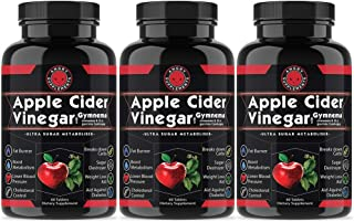 Angry Supplements Apple Cider Vinegar Pills for Weightloss - Natural Detox Remedy Includes Gymnema, Cinnamon, CLAS, and Garcinia for Complete Diet and Health - Starter Kit or Gift (3-Bottles)