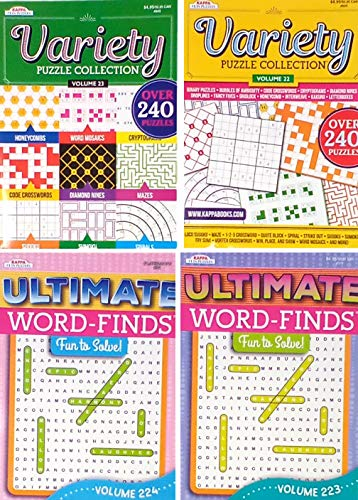 Ultimate Word Find Puzzle Books For Adults Combo Pack With 2 Word Finds and 2 Variety Puzzle Collection Books (titles may vary)