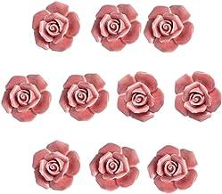 -10 stuks keramische vintage bloemen roos bloem deur knoppen handvat lade keuken + schroeven (roze)