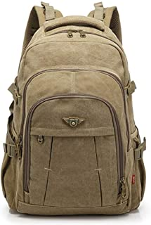 XHHWZB Men's Canvas Backpack -17 Inch, Canvas Large Capacity Travel Mountaineering Bag