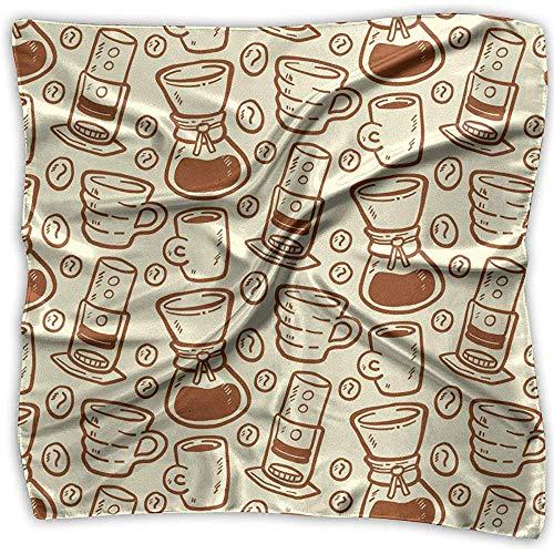 Uridy Patrón de bufanda de raso cuadrado con cafeteras y tazas Seda como bandanas ligeras Pañuelo para la cabeza Chal para el cuello Chal