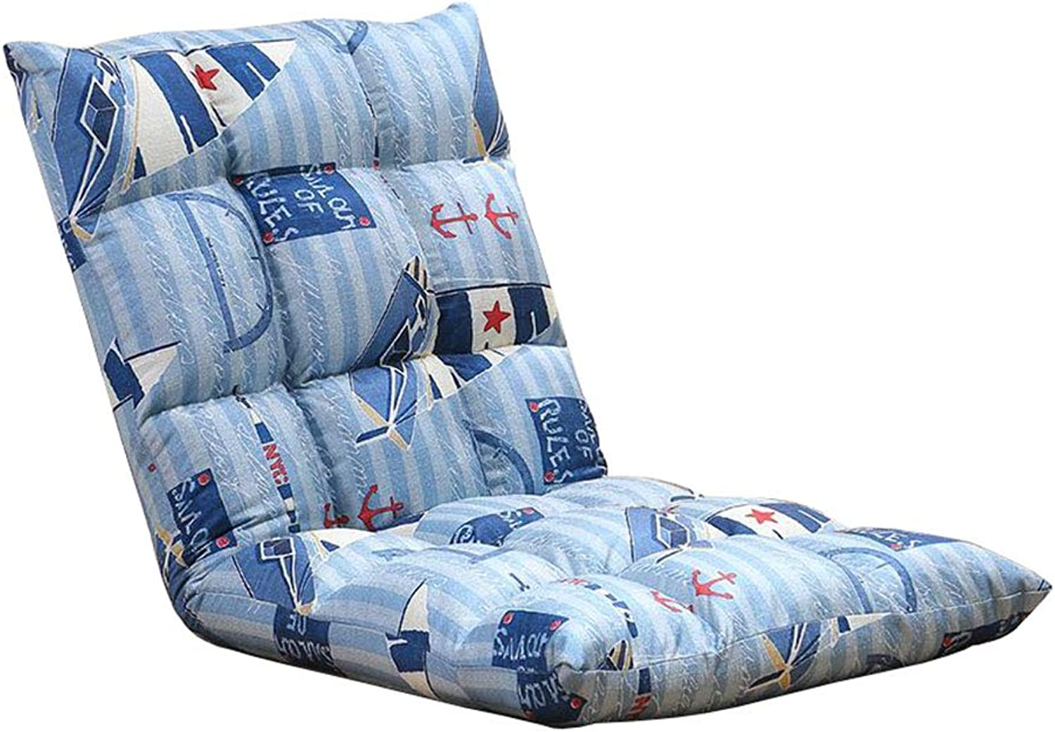 Lazy Lounge Sofa Folding Floor Chair Adjustable Backrest Seat Chairs Gaming Couch Bay Window Indoor bluee Cotton Hemp