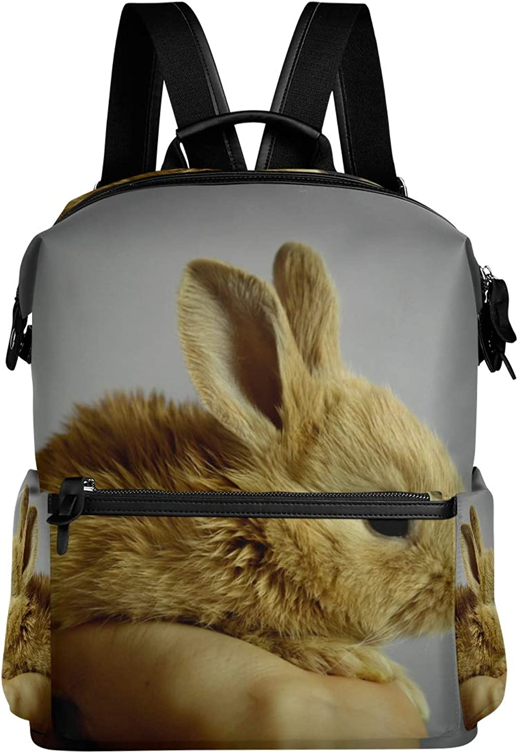 MONTOJ Cute Baby Rabbit Leather Travel Bag Campus Backpack