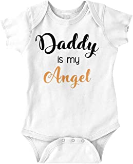 Brisco Brands Daddy is My Guardian Angel Fathers Day Romper Bodysuit White