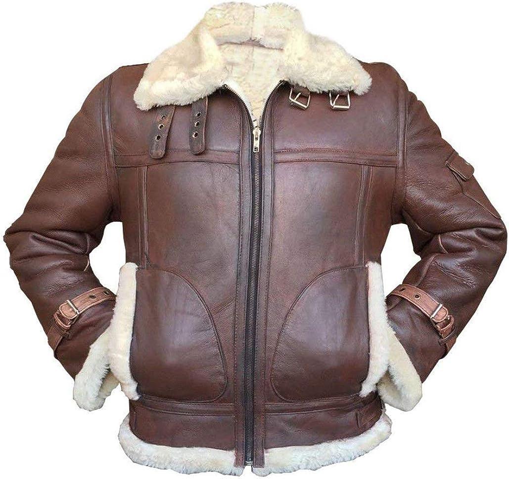 Mens B3 RAF Aviator Pilot Sheepskin Fur Shearling Leather Jacket Black/Brown