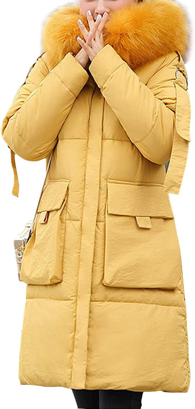 HaoMay Women's Winter Long Coat Quilted Cotton-Padded Puffer Jacket with Hood