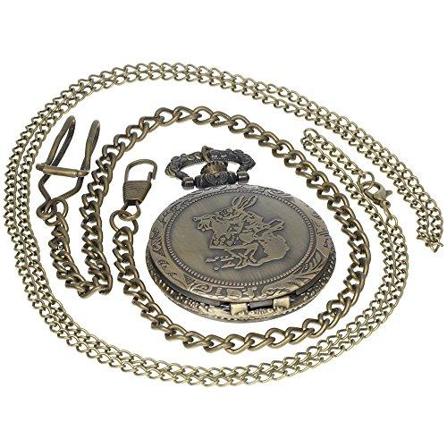 Vintage Bronze Eagle Ravenclaw Quartz Pocket Watch Necklace Retro Analog Chain Copper Men Women Children Kids Gift 1 PC Necklace 1 PC Clip Key Rib Chain