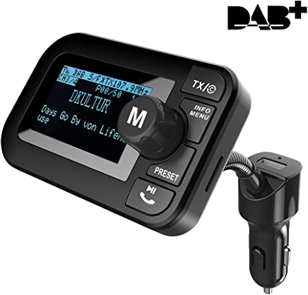 Firste Car DAB + radio with DAB Digital Radio with FM Transmitter Bluetooth MP3Player HandsFree Wireless Music Receiver Adapter with In-Car Charging Cable/TF Card Slot/AUX OUT/2.3Inch Lcd Screen
