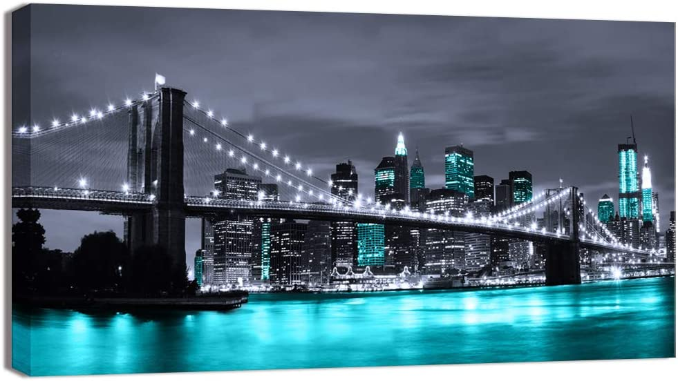 Visual Art Decor Black and White Branded goods Teal Blue York Brooklyn Same day shipping Bri New