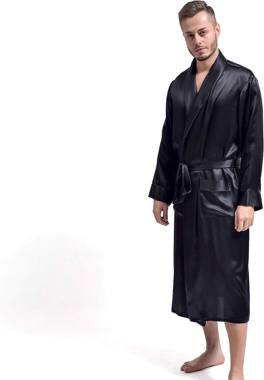 THXSILK Men's Silk Robe Long Bathrobes, Luxury Lightweight Sleepwear, Two Pockets, Pure Mulberry Silk loungewear