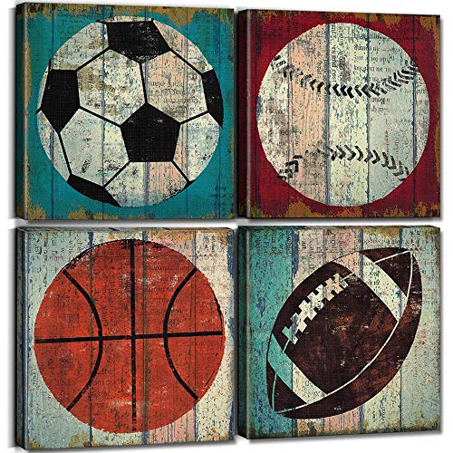 """Boys Bedroom Decor Sports Wall Art Basketball Pictures Printing Canvas for Boy Room Teen Home Decorations 12x12"""" Rustic Sport Soccer Football Baseball Themed Prints Modern Nursery Gift Poster 4 Pcs"""